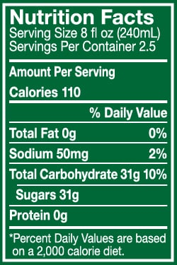 A nutrition facts label which indicates you'll consume over 19 teaspoons of sugar in this soft drink.
