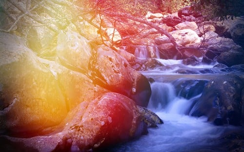 River flowing through mountain rocks